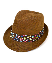 6pc Women's Brown Paper/Poly Polka Dots Band Fedora Hats by Westend