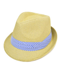 6pc Men's Natural Paper/Poly Big Checkered Blue Band Fedora Hats by Westend