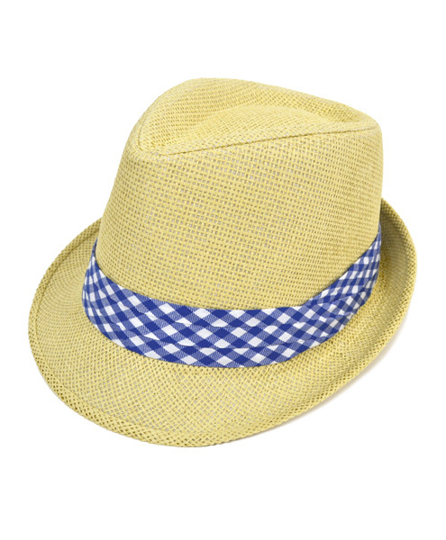 6pc Men's Natural Paper/Poly Big Checkered Dark Blue Band Fedora Hats by Westend