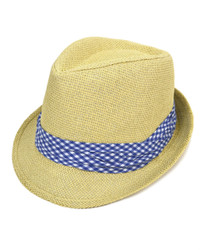 6pc Men's Natural Paper/Poly Small Checkered Dark Blue Band Fedora Hats by Westend