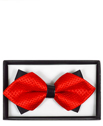 Red Diamond Tip Banded Bow Tie - DBB3030-22