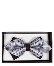 Gray Geometric Diamond Tip Banded Bow Tie - DBB3030-30