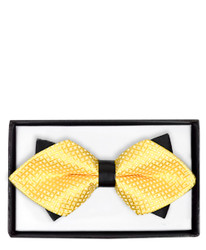 Yellow Diamond Tip Banded Bow Tie - DBB3030-25