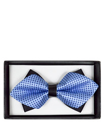 Blue Geometric Diamond Tip Banded Bow Tie - DBB3030-31