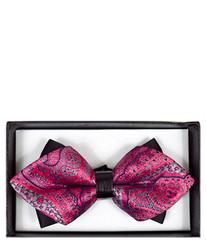 Fuchsia Paisley Diamond Tip Banded Bow Tie - DBB3030-36