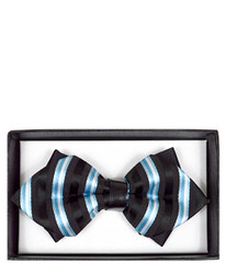 Multi Striped Diamond Tip Banded Bow Tie - DBB3030-35