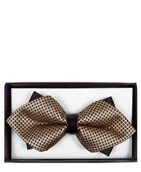 Brown Geometric Diamond Tip Banded Bow Tie - DBB3030-24