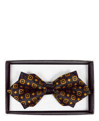 Floral Geometric Diamond Tip Banded Bow Tie-  DBB3030-06