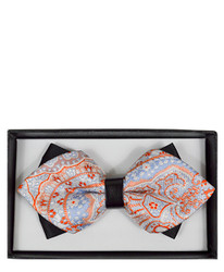 Multicolor Paisley Diamond Tip Banded Bow Tie - DBB3030-34