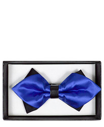 Royal Blue Solid Diamond Tip Banded Bow Tie - DBB3030-38