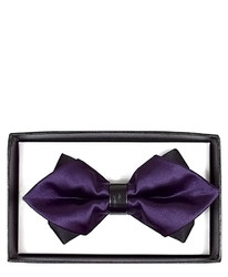 Purple Solid Diamond Tip Banded Bow Tie - DBB3030-37