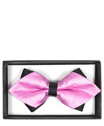 Pink Solid Diamond Tip Banded Bow Tie - DBB3030-39