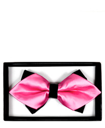 Hot Pink Solid Diamond Tip Banded Bow Tie - DBB3030-41