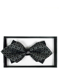 Elegant Geometric Diamond Tip Banded Bow Tie - DBB3030-09