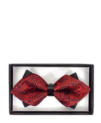 Elegant Paisley Diamond Tip Banded Bow Tie - DBB3030-26