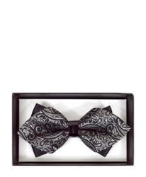 Black Paisley Diamond Tip Banded Bow Tie - DBB3030-29