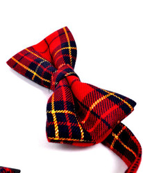 "Men's 2.5"" Poly Plaid Banded Bow Ties BT4004"