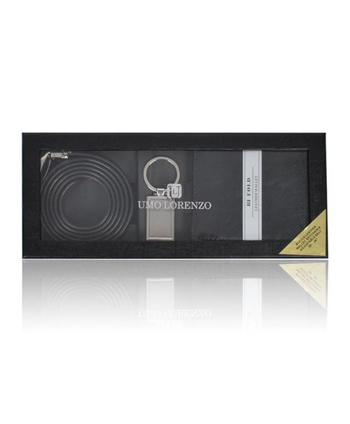 12 Assorted Pack Wallet, Keychain & Belt Sets WKB4601-BLACK