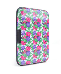 12pc Pack Card Guard Aluminum Compact Card Holder - Fuchsia Flower