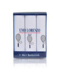Men's Cotton Handkerchiefs (3-Pack) Embroidered Tennis Racket MEH2603