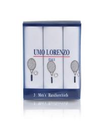 Men's Cotton Handkerchiefs (3-Pack) Embroidered Tennis Racket MEH2603