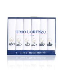 Men's Cotton Handkerchiefs (6-Pack) Embroidered Golf Ball & Tea MEH5602