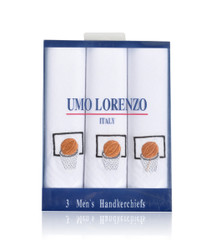 Men's Cotton Handkerchiefs (3-Pack) Embroidered Basketball & Net MEH2604