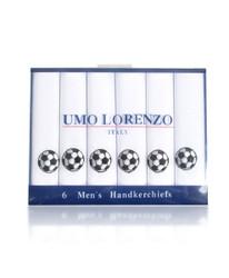 Men's Cotton Handkerchiefs (6-Pack) Embroidered Soccer Ball MEH5605