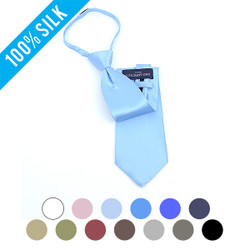 Casual Solid Silk  Zipper Tie - SSZ1301