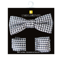 Boy's Poly Woven Hounds Tooth Black / Silver Bow Tie and Hanky Set - BFTH3003