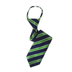 Boy's Green Striped Zipper Tie - MPWZ3303-GN9-142-14
