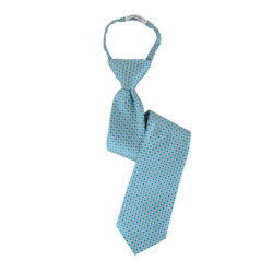 Boy's Baby Blue Plaid  Zipper Ties - MPWZ3303-TQ8-17