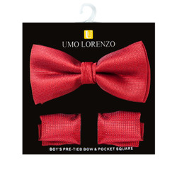 Boy's Fancy Red Bow Tie and Hanky Set - BFTH3016