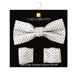 Boy's Fancy Geometric Bow Tie and Hanky Set - BFTH3036