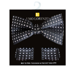 Boy's Fancy Geometric Bow Tie and Hanky Set - BFTH3001
