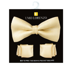 Boy's Basket Weave Yellow Bow Tie and Hanky Set - BFTH3020