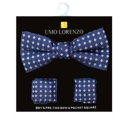 Boy's Fancy Geometric  Bow Tie and Hanky Set - BFTH3010