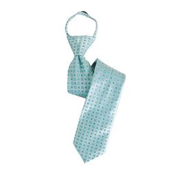 Boy's Turquoise  Geometric/Polka Dot  Zipper Ties - MPWZ3303-TQ7-17