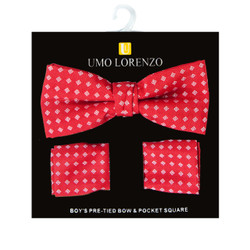 Boy's Fancy Red Bow Tie and Hanky Set - BFTH3015