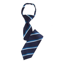 Boy's  Striped Navy/Blue/White Zipper Tie - MPWZ3303-BL14-17