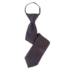 Boy's Brown Plaid Zipper Tie - MPWZ3303-BR6-14