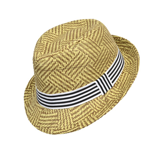 6pc Boy's Spring/Summer Tan Straw Fedora Hats with Black/White Striped Band