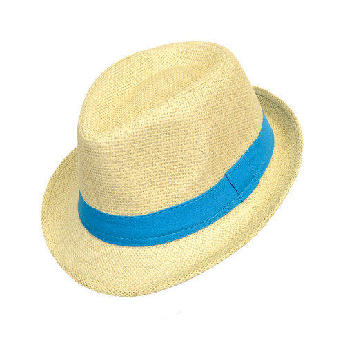 6pc Boy's Spring/Summer Light Tan Straw Fedora Hats with Blue Band