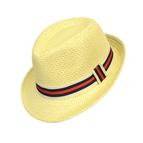 6pc Boy's Spring/Summer Cream Straw Fedora Hats with Navy/Red Striped Band