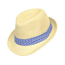 6pc Boy's Spring/Summer Cream Straw Fedora Hats with Blue Plaid Band