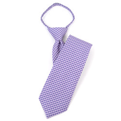 "Boy's 17"" Geometric Purple Zipper Tie - MPWZ1761"