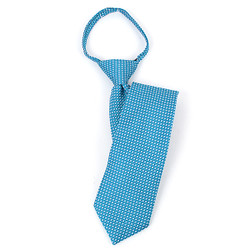 "Boy's 17"" Geometric Pindot Turquoise Zipper Tie - MPWZ1762"
