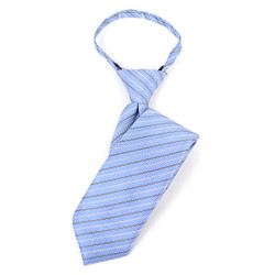 "Boy's 17"" Striped Sky Blue Zipper Tie - MPWZ1745"