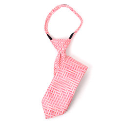 "Boy's 17"" Diamond Grid Red Zipper Tie"