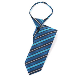 "Boy's 17"" Striped Turquoise Zipper Tie - MPWZ1758"